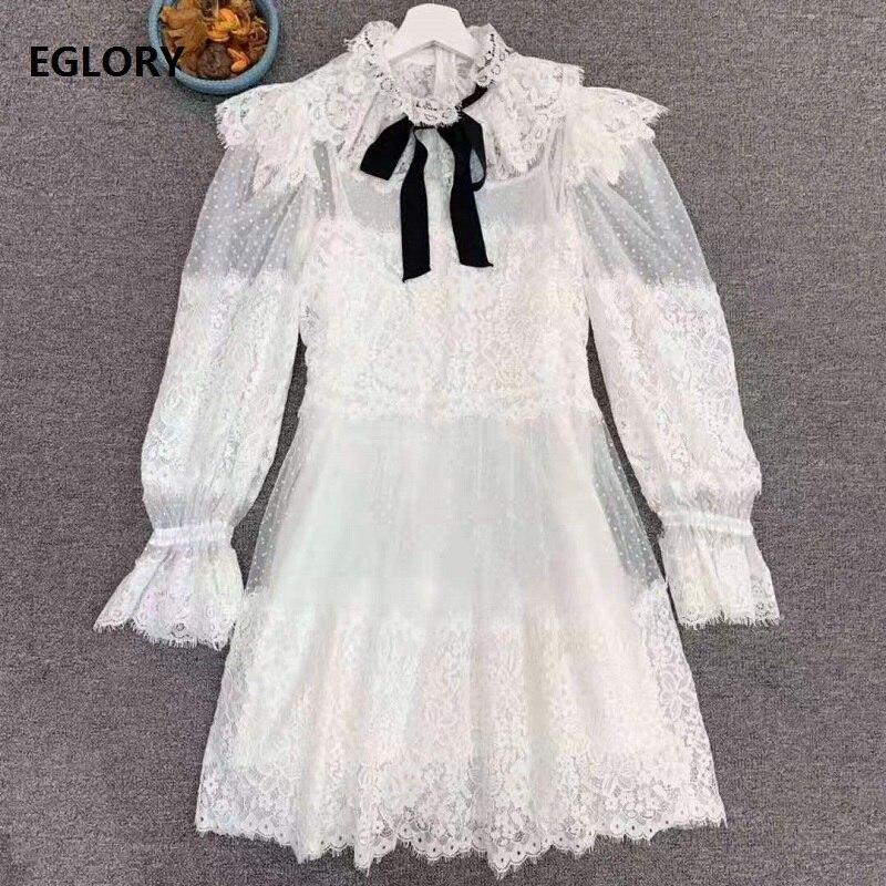 Noeud papillon élégant dentelle robe 2019 automne mode femmes Sexy pure à pois maille Patchwork 3/4 manches noir blanc dentelle Club robe