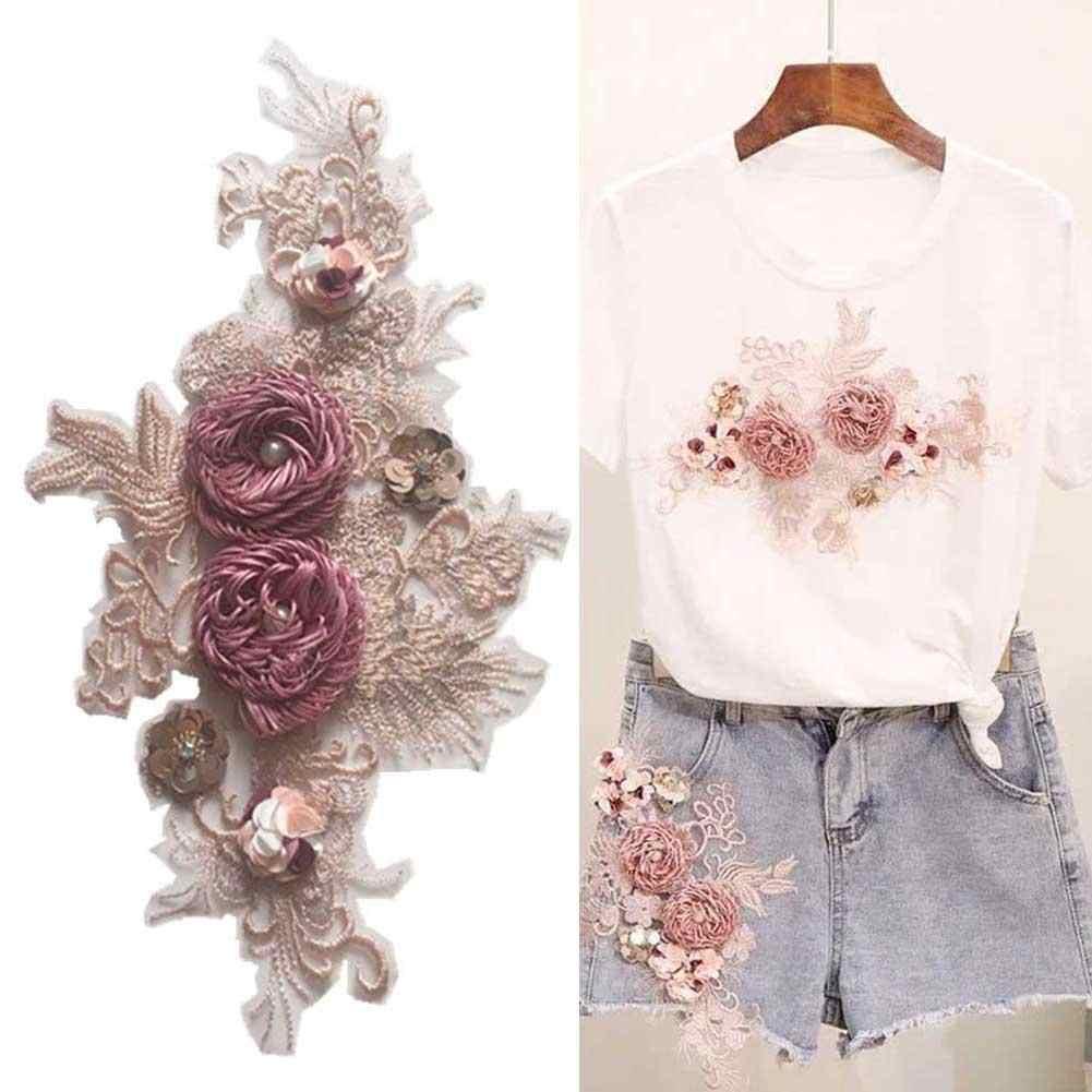 3D Blume Spitze Stickerei Netz Nähen Stoff Rand Patch Kleid Dekor