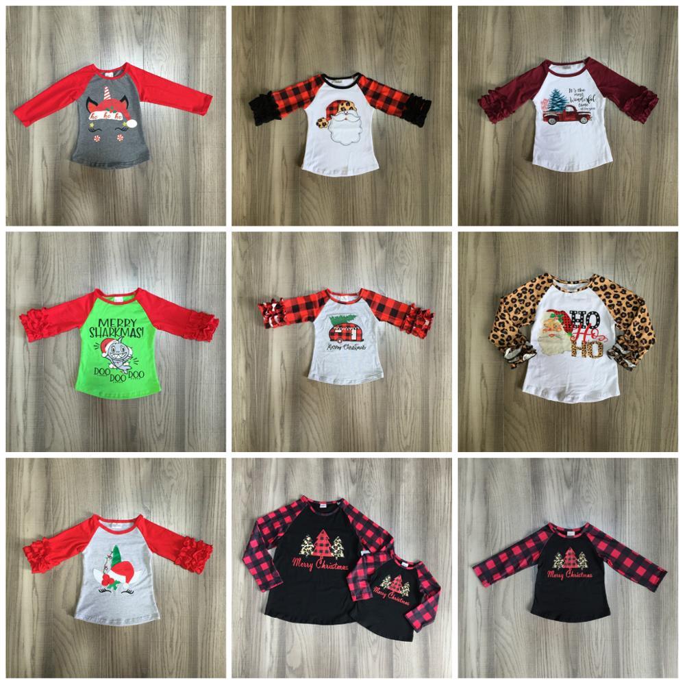 Otoño/invierno Navidad bebé niñas camiseta Santa claus hohoho plaid árbol superior glaseado mangas algodón raglans leopardo niños ropa