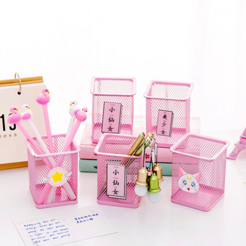 1 Pcs Lovely Pen Holder For Girls School Stationery Little Fairy Exclusive Pen Holder Pink Cute Debris Stationery Organizer