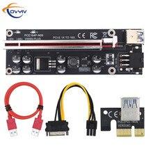 在庫covyiv gpu pcie/pci eライザー009sプラスカードpci e X16 pci expressに6Pin sata 1X 16X USB3.0エクステンダーledマイニングのための