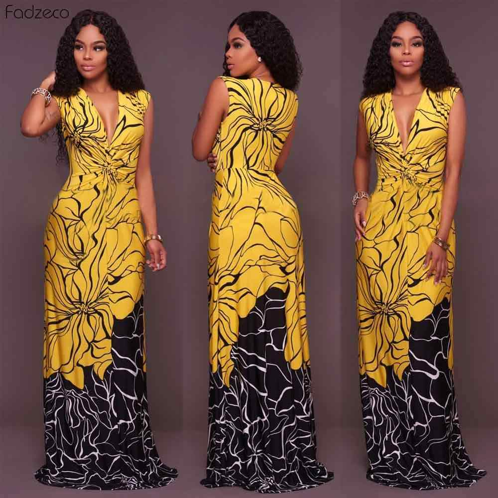 Fadzeco vestidos africanos para mujeres de talla grande traje de color de empalme sin mangas cera Floral Maxi vestido africano imperio cintura África encaje