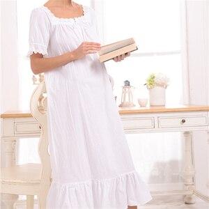 Image 5 - New Arrival Vintage koszule nocne Sleepshirts eleganckie damskie sukienki księżniczka bielizna nocna drukuj koszula nocna domowa koronkowa Sleep & Lounge # H875
