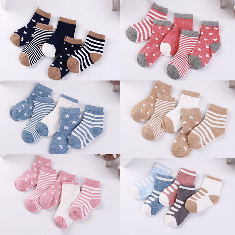 Dots Socks Boy School-Socks Warm Girl Baby Winter Kids Cotton Cartoon Cute Stripe 5-Pairs/Lot