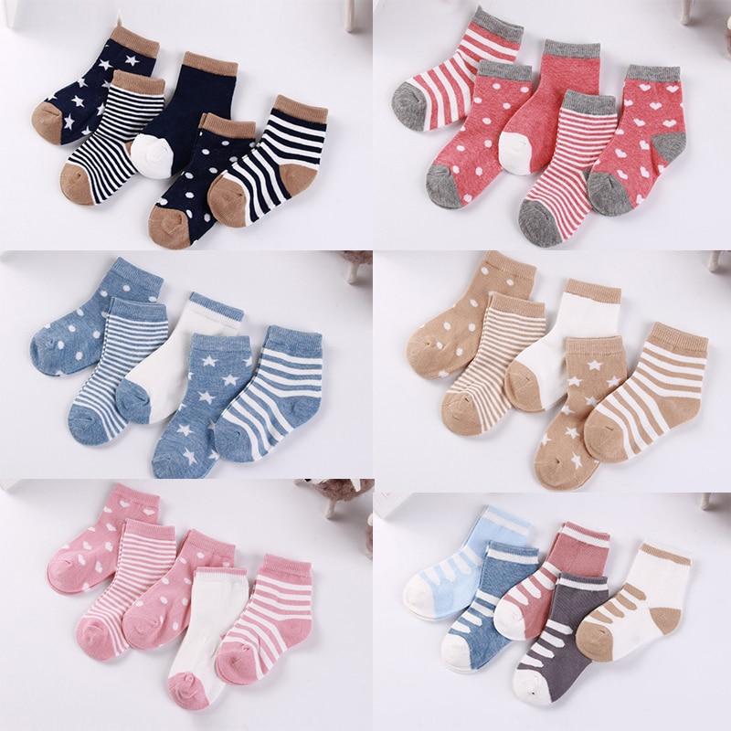 5 çift/grup 0 ila 6 yıl çocuklar yumuşak pamuk çorap erkek kız bebek sevimli karikatür sıcak şerit noktalar moda okul çorap sonbahar kış