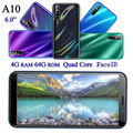 A10 quad core smartphones 4GB 64GB 13MP 6,0 inch android handys gesicht ID entsperrt celulares Globale version dropshipping