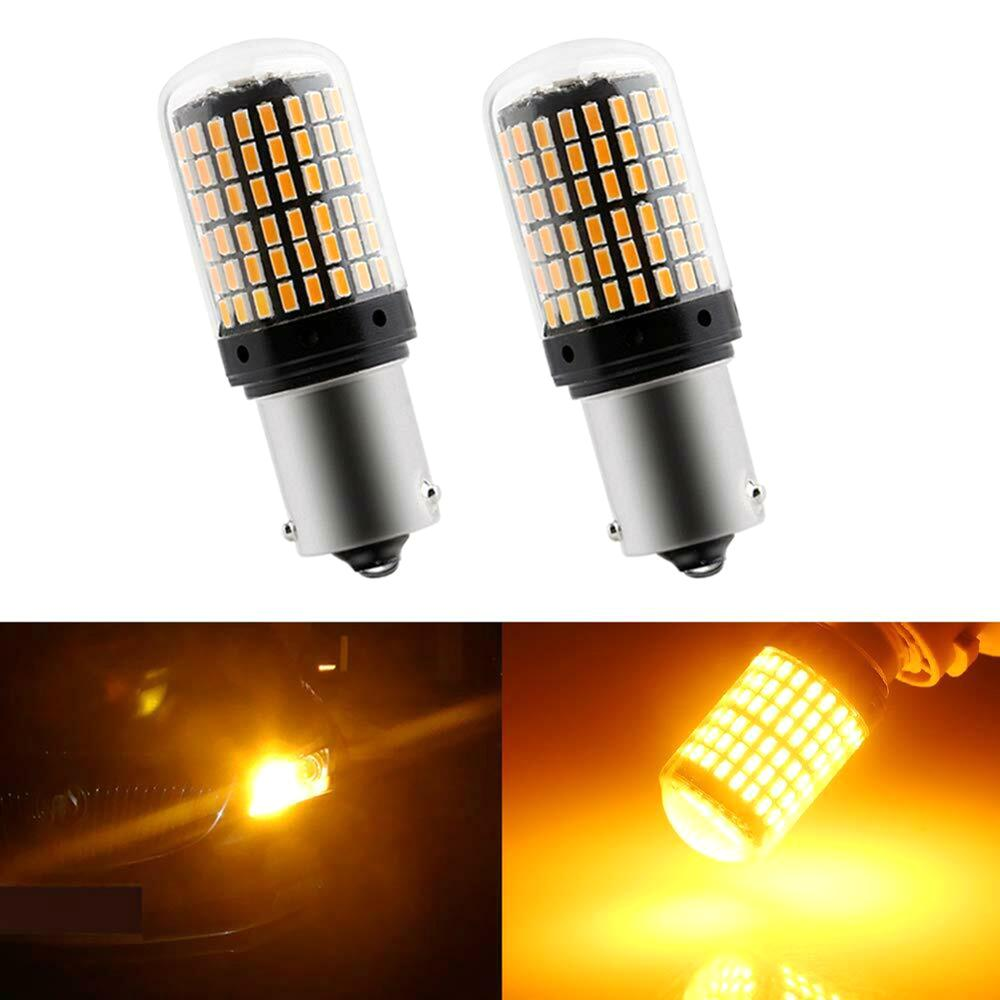 2Pcs 1156 Bau15s <font><b>LED</b></font> <font><b>PY21W</b></font> <font><b>LED</b></font> <font><b>Canbus</b></font> Bulbs No Hyper Flash lights Auto Car Turn Signal Parking Lights 3014 144 SMD image