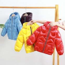 Winter children's cotton padded jacket suit new boys and girls bright face thickening double face cotton padded children's down
