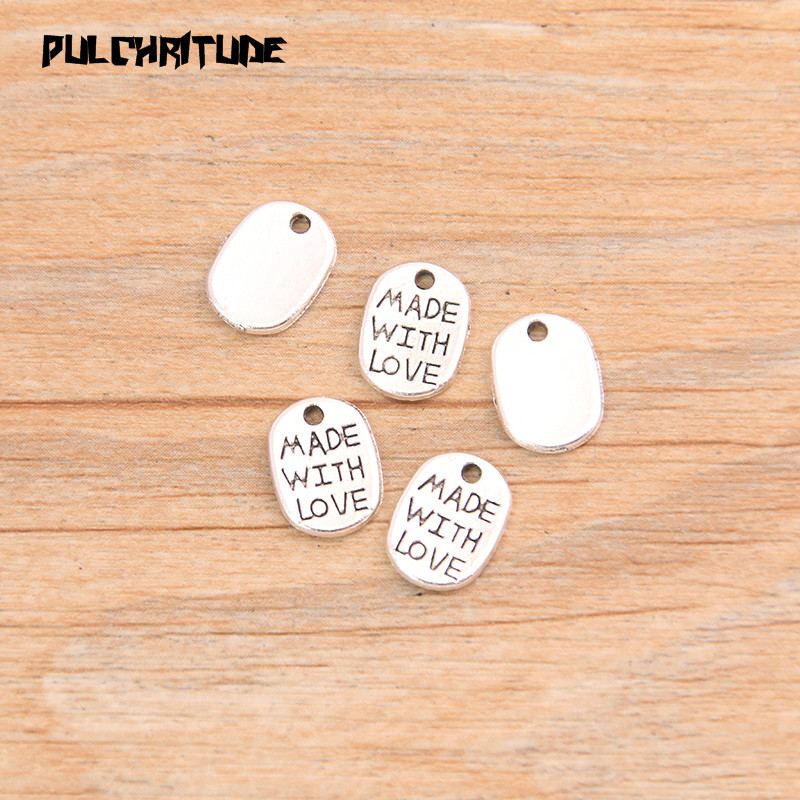"""PULCHRITUDE 60pcs 8*11mm Two Color Letter Charms """"MADE WITH LOVE """"Pendants Handmade  Vintage For DIY Jewelry Making Findings 6"""