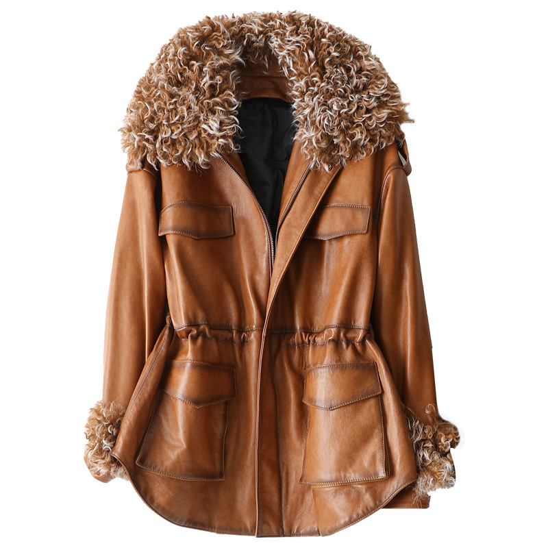 Real Fur Coat Female Wool Jacket Genuine Leather Jacket Autmn Winter Coat Women Clothes 2020 Korean Vintage Sheepskin Down Coat
