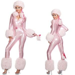 Женский костюм на Хеллоуин, Розовый Плюшевый комбинезон для косплея с котом, зимний комбинезон для ночного клуба со снеговиком, 2019