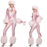 2019 Sexy Plush Model Cat Woman Halloween Costume Women Pink Onesies Animal Cosplay CostumesWinter Snowman Nightclub Jumpsuits