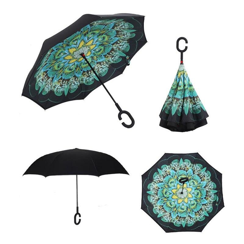Double couche coupe-vent inversé parapluie Durable pluie Protection solaire inverse femmes parapluies c-crochet poignée mains pour Smartphone
