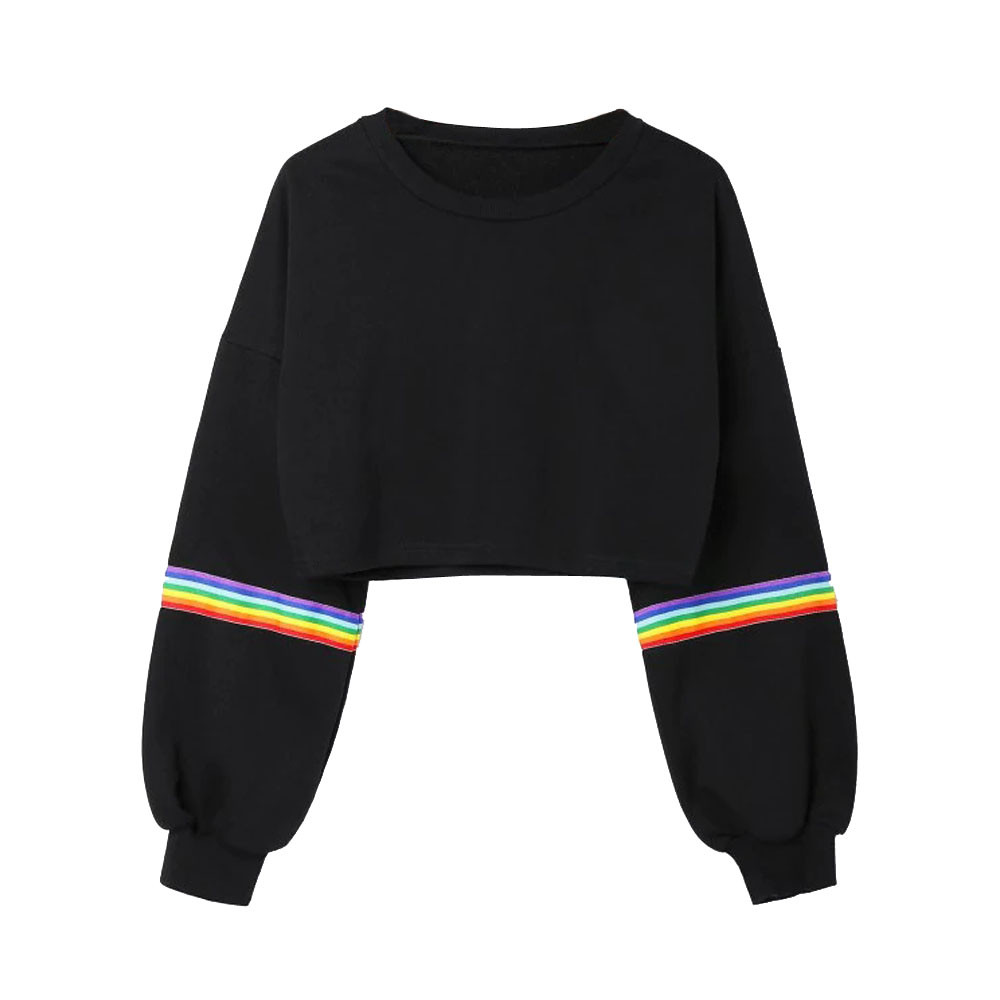 Womens Long Sleeve Striped Crop Rainbow Stripes Short Sweatshirt Jumper Black Pullover Top Sudadera Corta