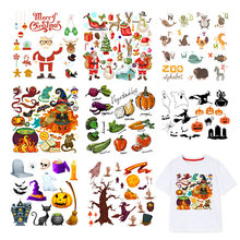 Iron On Halloween Christmas Patches For Clothes Boy Girl DIY T-shirt Applique Heat Transfer Vinyl Letter Animal Patch Sticker F(China)