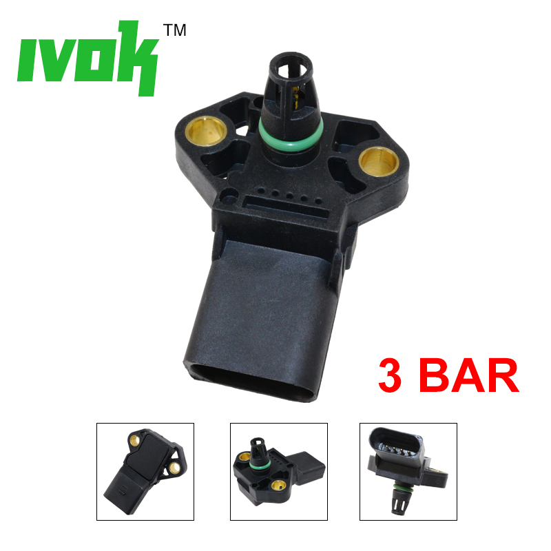 Intake Boost Pressure MAP sensor For A3 <font><b>VW</b></font> Jetta <font><b>Sportwagen</b></font> Golf R32 Rabbit GTI 2.0 TDI 03G906051F 0281002838 03G 906 051 F image