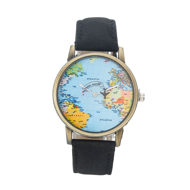 Black red world map airplane pin fashion denim canvas student quartz watch image