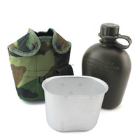 Three piece a set Kettle Outdoor travel Bottle Portable Folding my water bottle military camouflage bag sports water bottles 1L