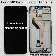 """Tela de reposição display lcd para xiaomi poco f1, conjunto digitalizador de tela touch screen de 100% """"para xiaomi mi pocophone f1 (10 ponto)"""