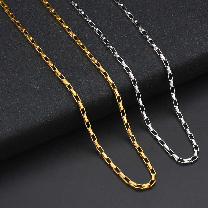 UZone Simple acier inoxydable boîte chaîne collier personnalité or gourmette cubain lien chaîne 18 pouces 20 pouces 22 pouces 24 pouces colliers