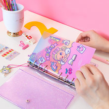 A6 Pink Hand Account Girl Spiral 6 Holes Notebook Transparent PVC Loose-leaf binder Diary school Office Supply Notepad Gift Suit