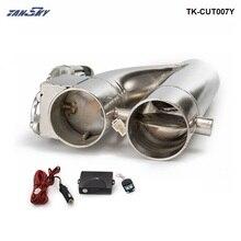 """Patentierte Produkt jdm 2 """" / 2.25""""/ 2.5 """"/3"""" Electric Exhaust Dump Ausschnitt E cut Out Bypass/Schalter Dual Ventil System TK CUT007Y"""