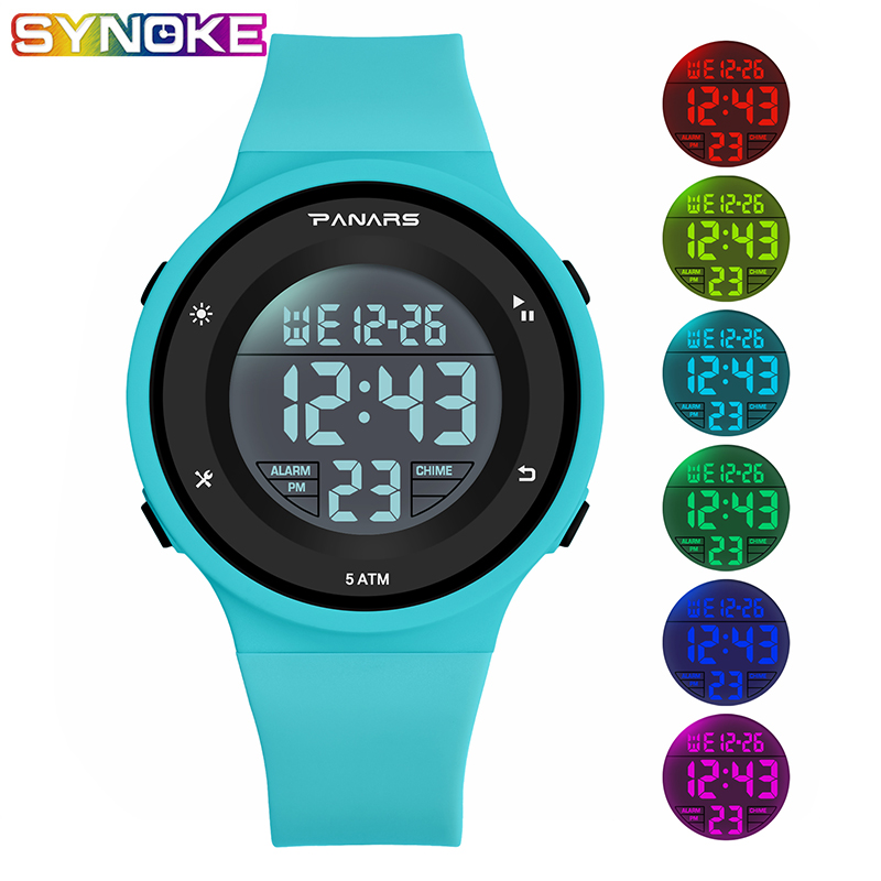 PANARS Blue Kid Digital Watch Sports Children Waterproof Colorful Luminous Multifunctional Student Plastic Shock Resistant Watch