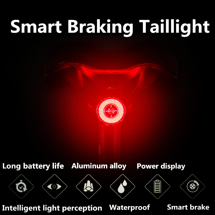 NEW Usb Bike Tail Light Lantern Smart Brake Sensor Taillights MTB Road Cycle Rear Led Waterproof Bycicle Back Lights  Alloy
