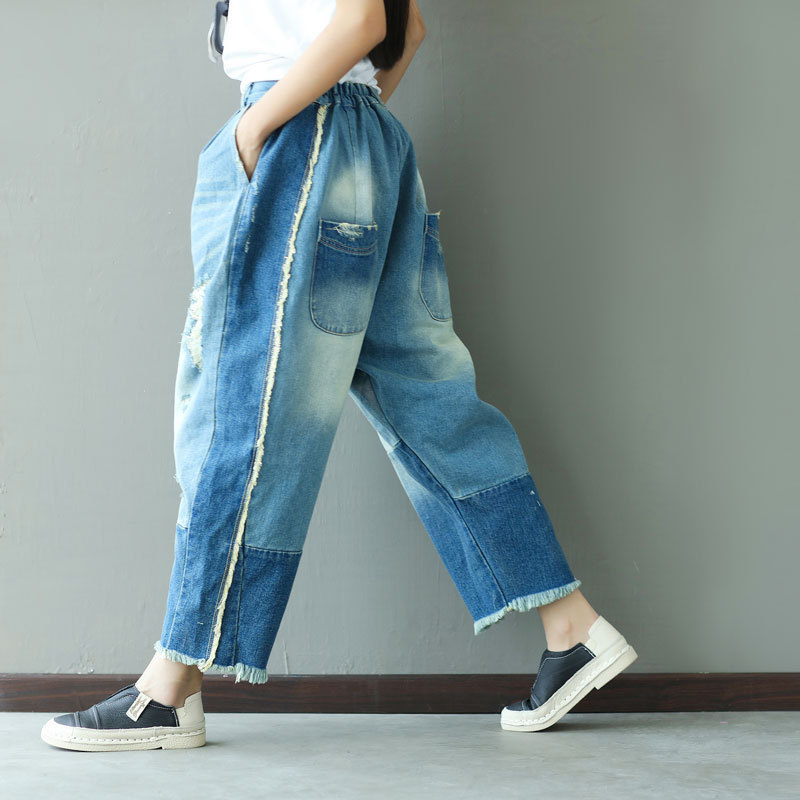New Boyfriend Jeans Harem Pants Women Trousers Casual Jeans Girl Loose Fit Vintage Denim Pants Low Waist Jeans Women Vaqueros