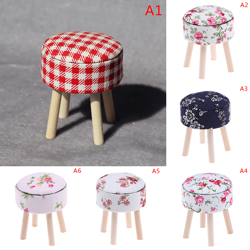 Wooden 1//12 Dollhouse Furniture Toy Kitchen Dining Bar Red Plaid Footstool