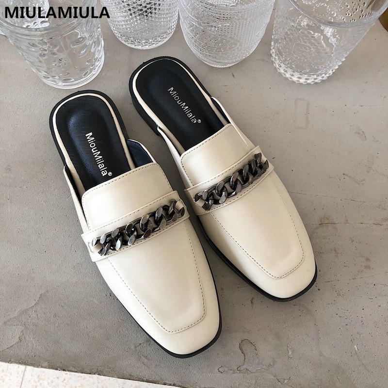 MIULAMIULA Brand Designers 2020 Spring Luxury Metal Chain Red Heart Embroidery Leather Slippers Loafers Mules Flip Flops 35-41