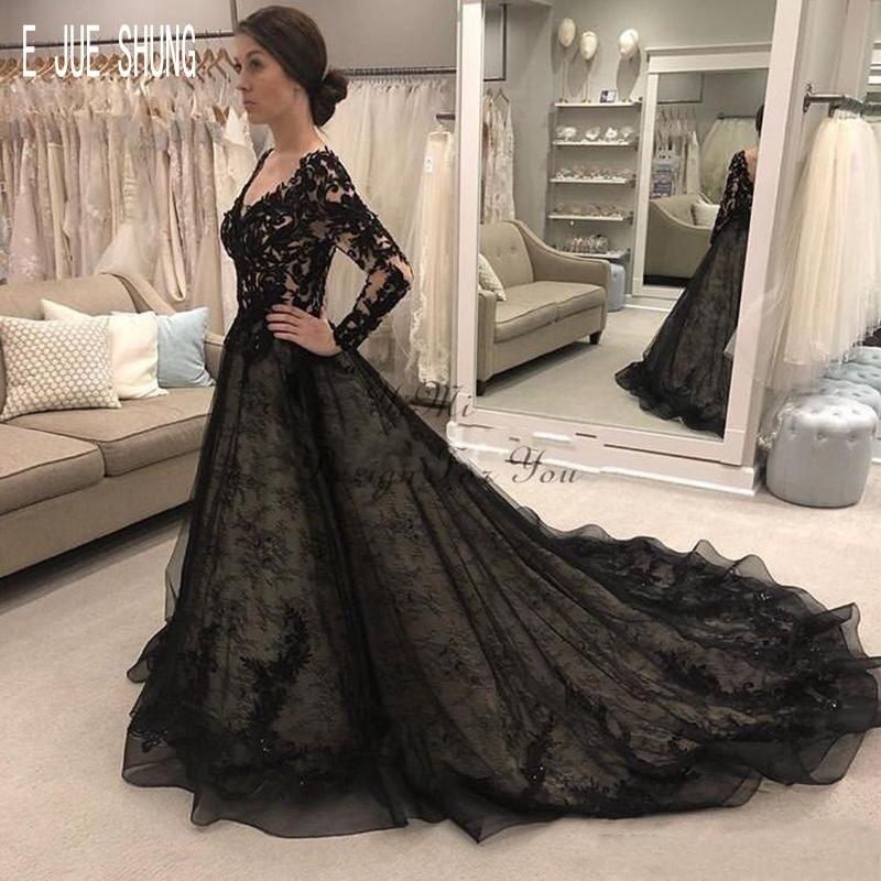 E JUE SHUNG Black Lace Wedding Dresses V Neck Long Sleeves Backless Long Train A Line Wedding Bridal Gowns Vestido De Noiva