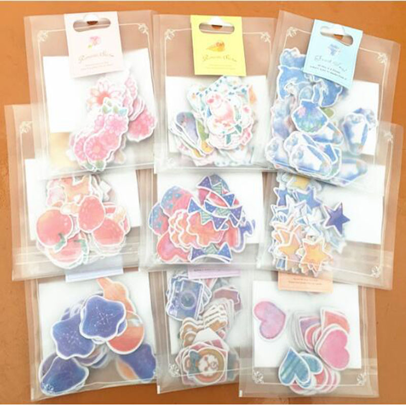Special Price! 65-70 Pieces / More Romantic Mini Paper Sticker Bag Diy Diary Planner Decorative Map Scrapbook Kawaii Stationery