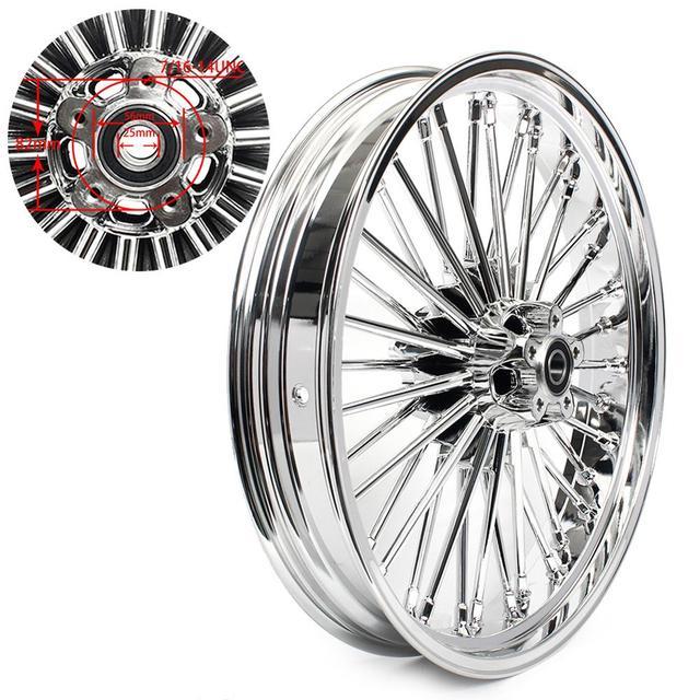 "BIKINGBOY 21"" x 3.5"" Single Disc Front Wheel Rim Hub 36 Fat King Spokes For Harley Dyna / Softail / Touring / Sportster"
