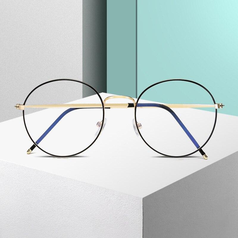 Round Anti-blue Glasses Frame Fashion Computer Office Decoration Glasses Luxury Metal Frame Radiation Glasses