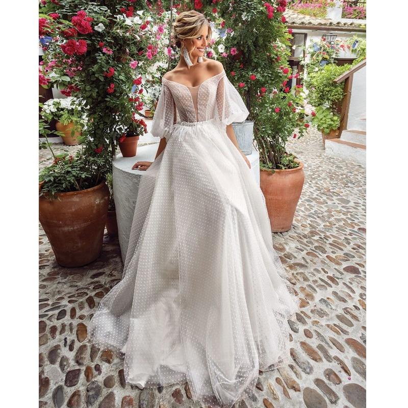 Verngo A Line Beach Wedding Dress 2020 Elegant Boho Wedding Gowns Long Sleeves Bridal Dress Vestido De Noiva Sereia