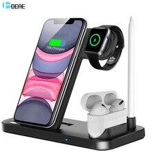 Dcae Sạc Không Dây Qi 3 Trong 1 Tề 10W Nhanh Đế Sạc Cho Apple Watch 5 4 3 2 Tai Nghe Airpods PRO iPhone 11 XS XR X 8 Đứng