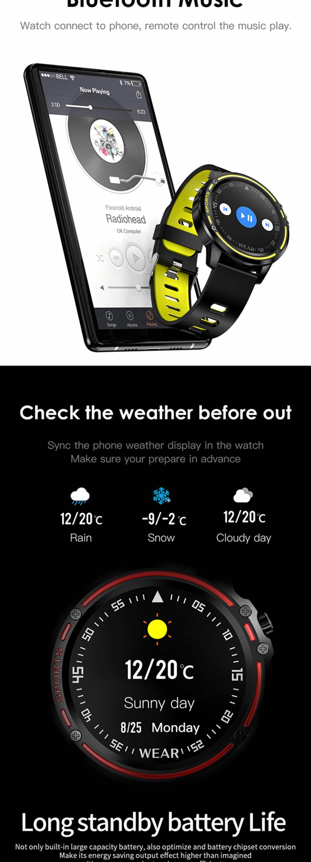 Microwear L8 Full Touch Screen ECG+PPG O2 Monitor IP68 Sports Mode bluetooth Music Control Weather Smart Watch Fitness Men Women