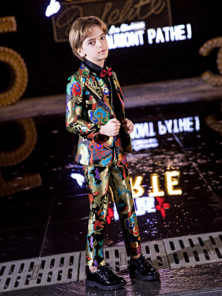 YuanLu 2019 Blazer Boys Suits Formal Costume Toddler Clothes British Style For Party Wedding Prince Colorful Kids Suits