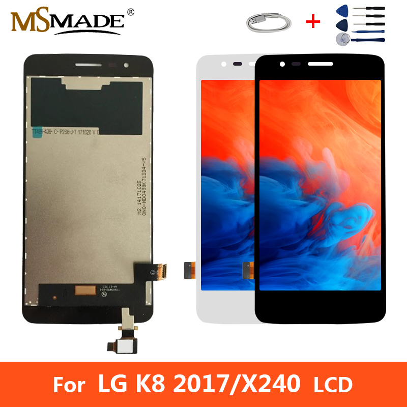 Original For <font><b>LG</b></font> K8 2017 <font><b>X240</b></font> X240H X240DSF X240K <font><b>LCD</b></font> Display Touch Screen Digitizer Replacement Parts With Frame Free Gift 5.0