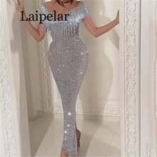 Женское длинное вечернее платье макси с бахромой и открытыми