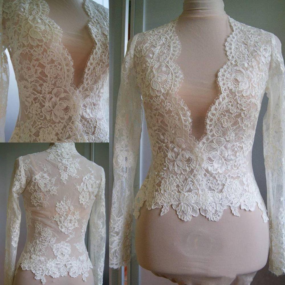 Cheap Bridal Wraps Ivory Lace Wedding Jackets Bolero White Bridal Long Sleeves Tops Shawl V Neck Custom Made