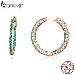 Bamoer genuíno 925 prata esterlina clássico círculo redondo verde cz brincos do parafuso prisioneiro para o casamento feminino jóias de noivado sce511