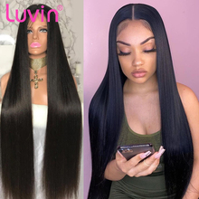 Cheap Luvin 180 250 Density 30 40 Inch Bone Straight Glueless Lace Front Human Hair Wigs For Black Women Brazilian Frontal Wig cheap Long Lace Front Wigs Lace Curved Part Deep Part Lace Part CN(Origin) Remy Hair Half Machine Made Half Hand Tied All Colors