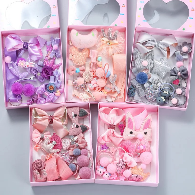18Pcs/Box Korean Girls Hair Accessories Set Cute Baby Hair Clips Pin Barrettes Flower Bow Headbands Lovely Rubber Bands Kid Gift