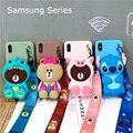 Para Samsung S10 S8 S9 Nota 8 9 10 Plus A20 20 50 70 80 J4 J6 J8 Capa Carteira dinossauro Porco Urso Ponto TPU Soft Case