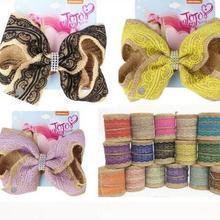 Popular color personalizado 7 pulgadas lazos para el cabello Vintage Natural yute arpillera lazo de arpillera lazo decoración de enlace boda fiesta Decoración