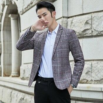 VODOF 2019 New Arrival Brand Clothing Jacket Men's Plaid Suit Jacket Men Blazer Fashion Slim Male Casual Blazers Men Size M-5XL 1