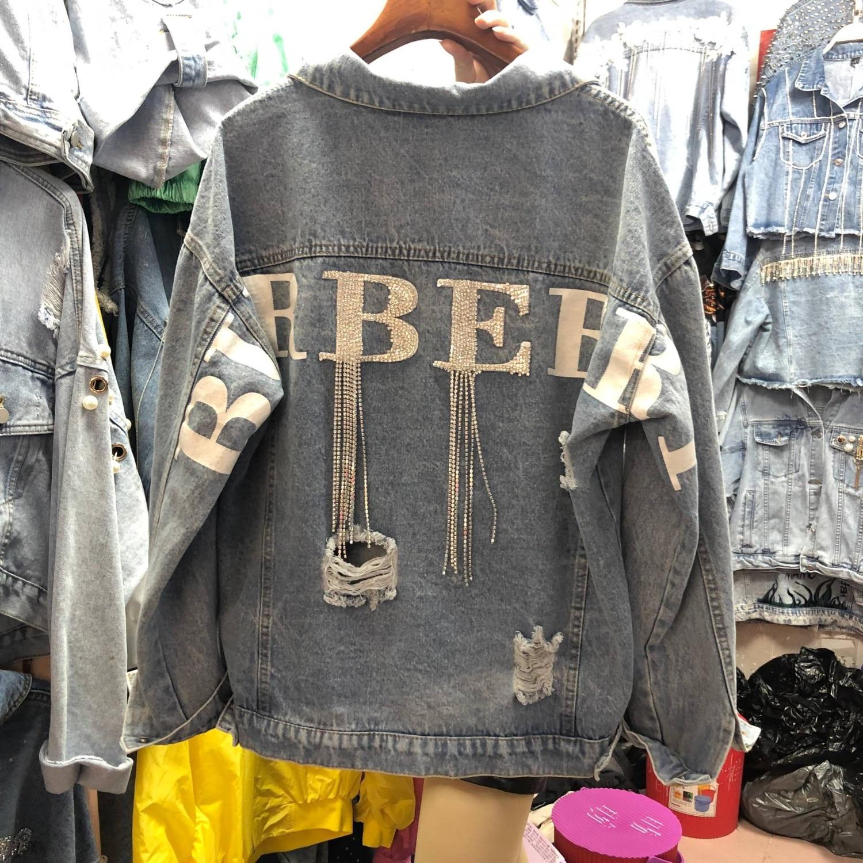2019 automne femmes lâche basique manteaux Femme Jeans manteau Feminino mode Denim Veste Oversize Bomber Streetwear Veste Femme
