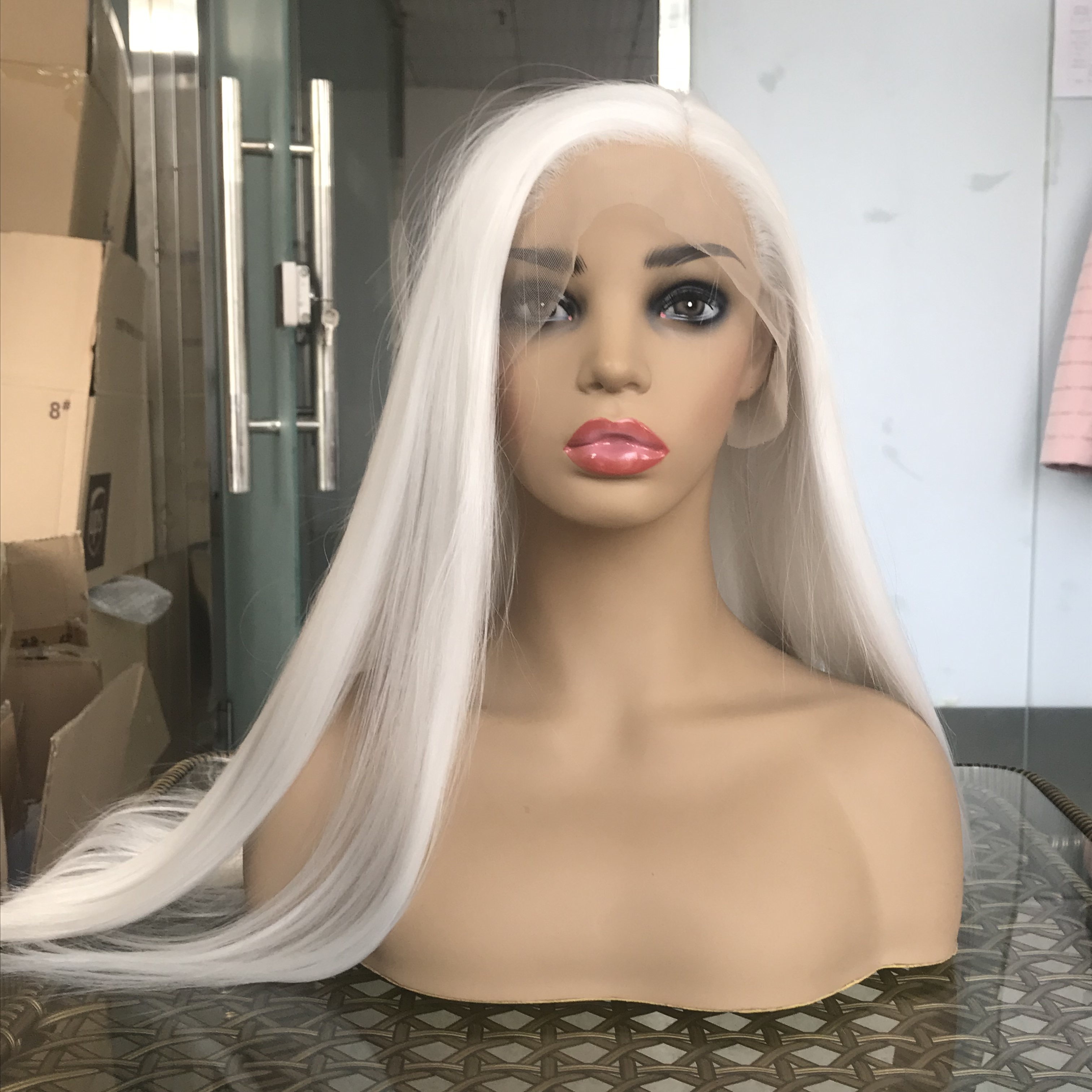 Wholesale Price High Quality Front Lace White Synthetic Wigs